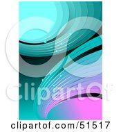 Royalty Free RF Clipart Illustration Of A Futuristic Background Of Blue Teal And Pink Waves And Curves