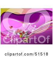 Royalty Free RF Clipart Illustration Of A Purple Wave Background With Waves Rings And Flowers Under A Heart