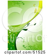 Green Organic Vine Background With The Stem Curving Upwards