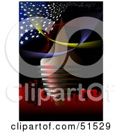 Royalty Free RF Clipart Illustration Of Red Urban Buildings Under Flowing Stars And Swooshes On Black