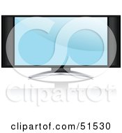 Royalty Free RF Clipart Illustration Of A Blue Screen Saver On A Flat Screen Tv