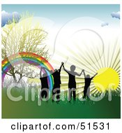 Royalty Free RF Clipart Illustration Of Four Silhouetted Children Holding Hands Near A Rainbow In The Grass At Sunrise