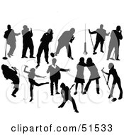 Royalty Free RF Clipart Illustration Of A Digital Collage Of Black Musician Silhouettes by leonid #COLLC51533-0100