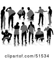 Royalty Free RF Clipart Illustration Of A Digital Collage Of Black Men Silhouettes by leonid #COLLC51534-0100