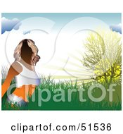 Royalty Free RF Clipart Illustration Of A Faceless Woman Wearing Underwear In A Grassy Field At Sunrise