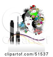 Royalty Free RF Clipart Illustration Of A Beautiful Woman With Flowers In Her Hair Behind A Tube Of Mascara by leonid