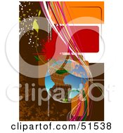 Royalty Free RF Clipart Illustration Of A Wire Globe With Vines Splatters Binary And Waves