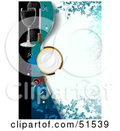 Royalty Free RF Clipart Illustration Of A Blue Floral Blank Menu With A Plate And Wine Glas