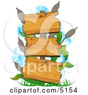 Blank Swamp Signs With Cattails And Grasses Clipart by djart