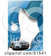 Royalty Free RF Clipart Illustration Of A Convertible Car On A Blue And White Diner Menu With A Place Setting