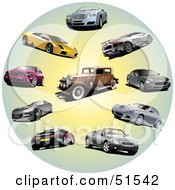 Royalty Free RF Clipart Illustration Of A Digital Collage Of Coupes Classic And Sports Cars In A Circle