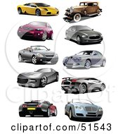 Royalty Free RF Clipart Illustration Of A Digital Collage Of Coupes Vintage And Sports Cars by leonid