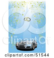 Royalty Free RF Clipart Illustration Of A Convertible Car On A Blue Confetti Background With Golden Wedding Bands