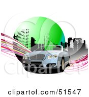 Royalty Free RF Clipart Illustration Of A Convertible Car On An Urban Background With Pink Waves