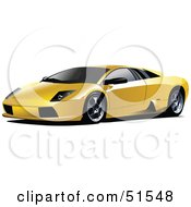 Royalty Free RF Clipart Illustration Of A Shiny Yellow Sports Car by leonid