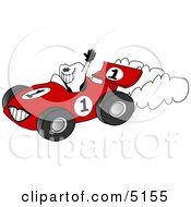 Happy Healthy Tooth Driving A Race Car Clipart by djart