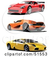 Royalty Free RF Clipart Illustration Of A Digital Collage Of Three Red Orange And Yellow Sports Cars