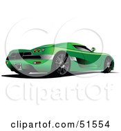 Royalty Free RF Clipart Illustration Of A Rear Side View Of A Green Sports Car