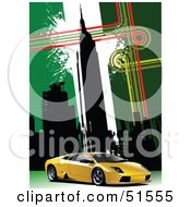 Royalty Free RF Clipart Illustration Of A Yellow Sports Car On A Green New York City Background
