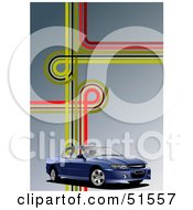 Royalty Free RF Clipart Illustration Of A Blue Ute Car On A Gradient Background With Road Junctions by leonid
