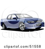 Royalty Free RF Clipart Illustration Of A Blue Ute Lorry Car by leonid