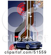Royalty Free RF Clipart Illustration Of A Blue Ute Car On A Background With Circles And Roads by leonid