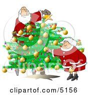 Santa And Wife Decorating Christmas Tree Clipart