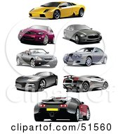 Royalty Free RF Clipart Illustration Of A Digital Collage Of Coupes And Sports Cars