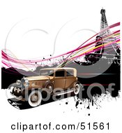 Royalty Free RF Clipart Illustration Of A Vintage Car Speeding Past The Eiffel Tower With Pink Waves by leonid