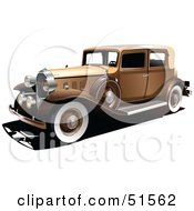 Royalty Free RF Clipart Illustration Of A Vintage Gold Car With White Wall Tires