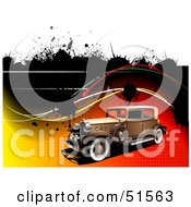 Royalty Free RF Clipart Illustration Of A Vintage Car On A Gradient Halftone Background With Waves And Splatters by leonid