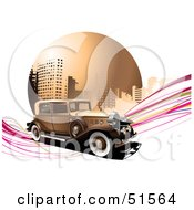 Royalty Free RF Clipart Illustration Of A Vintage Car On Pink Waves In Front Of An Urban Circle