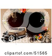Royalty Free RF Clipart Illustration Of A Vintage Car On A Brown Grunge Halftone And Circle Background by leonid