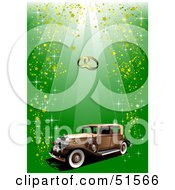 Royalty Free RF Clipart Illustration Of A Vintage Car With Gold Confetti On Green Under Wedding Rings by leonid