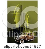Royalty Free RF Clipart Illustration Of A Vintage Car On A Green Urban Background by leonid