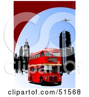 Royalty Free RF Clipart Illustration Of A Red Double Decker Bus Near City Buildings Under A Plane by leonid