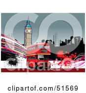 Royalty Free RF Clipart Illustration Of A Red Double Decker Bus With Grunge In Front Of A Clock Tower by leonid
