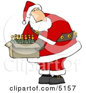 Santa Holding A Box Of Wines Clipart