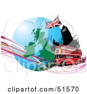 Royalty Free RF Clipart Illustration Of A Red Double Decker Bus Passing Big Ben On An Urban Circle With Continents And Waves