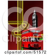 Royalty Free RF Clipart Illustration Of A Red Double Decker Bus With Yellow Lines And Big Ben On Red