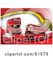 Royalty Free RF Clipart Illustration Of A Grungy Background With Red Double Decker Buses And Urban Buildings by leonid