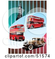 Royalty Free RF Clipart Illustration Of Red Double Decker Buses Vintage Car And Big Ben On A Striped Background by leonid