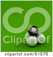 Royalty Free RF Clipart Illustration Of A Black Eight Ball On Top Of Three Cue Balls