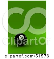 Royalty Free RF Clipart Illustration Of A Black Eight Ball On A Green Surface