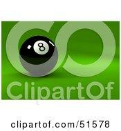 Royalty Free RF Clipart Illustration Of A Black Billiards Eight Ball On A Green Surface by stockillustrations