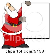 Santa Holding A Blank Sign Clipart