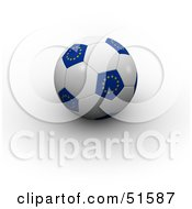 Royalty Free RF Clipart Illustration Of A Blue And White European Soccer Ball by stockillustrations