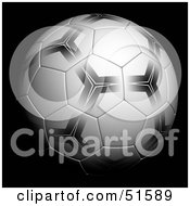 Royalty Free RF Clipart Illustration Of A Patterned Soccer Ball On Black by stockillustrations