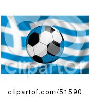 Royalty Free RF Clipart Illustration Of A Soccer Ball Flying In Front Of A Waving Greece Flag by stockillustrations