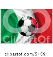 Royalty Free RF Clipart Illustration Of A Soccer Ball Flying In Front Of A Waving Italy Flag by stockillustrations